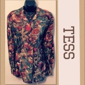 3c0838febb41a2 Long sleeves 100 % SILK Blouse with Flower pattern